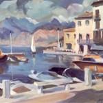 """""""PORTO DI MALCESINE"""" (1981) Olio su tela cm 80x60"""